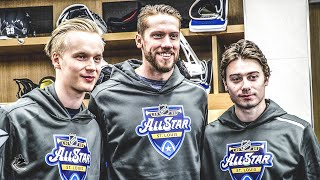 Hughes, Markstrom and Pettersson at the 2020 NHL All-Star Game