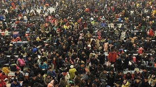 preview picture of video 'China  spring festival transportation still hard to buy the ticket despite 3600 million Passenger v'