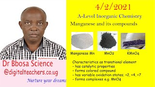 Transition elements Maganese By Dr Bbosa Science