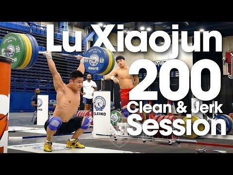 Lu Xiaojun 200kg Clean & Jerk Session Training Hall 2015 World Weightlifting Championships