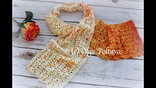 How To Crochet Easy Lacy Scarf, Lace Summer Scarf, Crochet Video Tutorial
