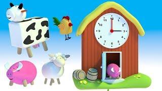 Nauka zegara dla dzieci - Zegar dla dzieci ze zwierzętami na wsi   CzyWieszJak