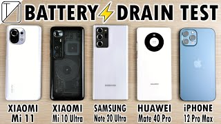 Xiaomi Mi 11 vs Mi 10 Ultra vs Note 20 Ultra vs Mate 40 Pro vs iPhone 12 Pro Max Battery DRAIN Test!