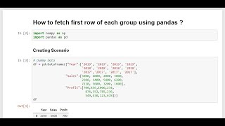 Python - How to fetch the FIRST row of each group using pandas ?