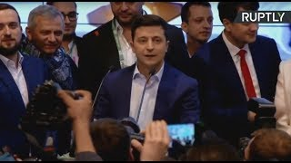 Comedian Zelensky celebrates win over Poroshenko in Ukraine presidential vote