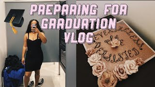 COLLEGE VLOG | GRADUATION DRESS SHOPPING + DECORATING MY CAP