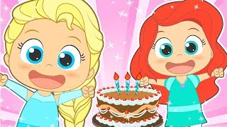 HAPPY BIRTHDAY with Disney Princess   Party songs for kids in english