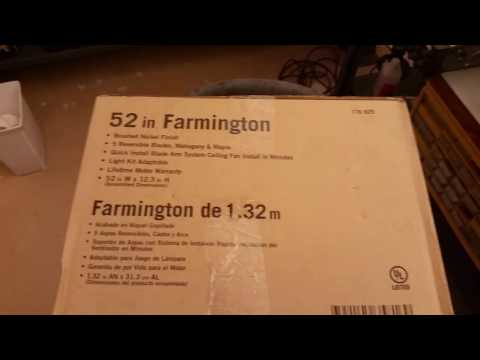 Farmington 52 inch ceiling fan review. Purchased at Home Depot online.