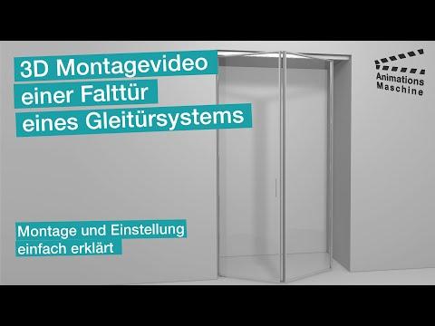 3D Montagevideo einer Falttür eines Gleitürsystems