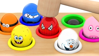 Character Surprise Eggs Learn Colors With Whac A Mole For Kids Children Toddlers