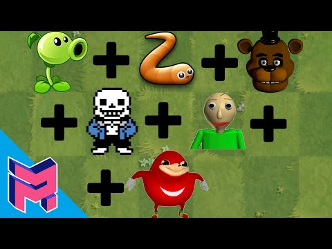 Plants vs Zombies Fusion Hack Animation (Peashooter + Slither.io + FNAF + Sans + Baldi + Knuckles)
