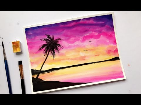 watercolor painting sunset tutorial by ahmadart