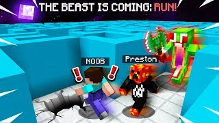MINECRAFT RUN FROM THE BEAST MAZE ESCAPE vs Unspeakable! (MCPE Maze Run)