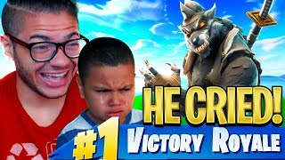 I Made My Little Brother CRY From *TROLLING* Him Too Much in Fortnite: Battle Royale