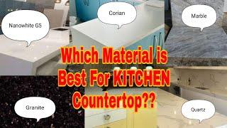 Kitchen countertop material,marbel, granite, quartz,corian du pont, G5 nano white ,G3 G4 G5, hindi