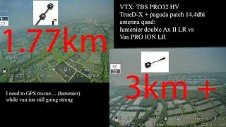Lumenier double ax II 2 long range antenna vs VAS Ion Pro antenna   OSD   sound   long range   test