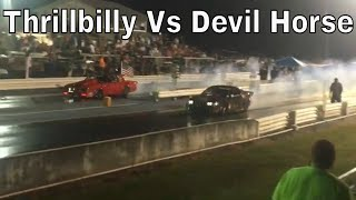 Shane Stack's Twin Turbo Monte Carlo Vs Neil Hawkins In The Devil Horse Mustang At Radial Fest