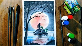 Mermaid Moonlight Scenery Drawing With Poster Colour Step By Step