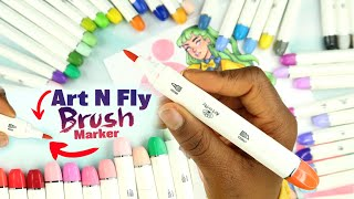 The ART-N-FLY BRUSH MARKERS ◎ Cheap alcohol markers & Fine-liners