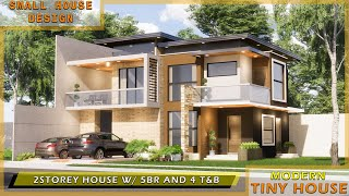 SMALL HOUSE DESIGN -  (9X12) METERS 2 STOREY HOUSE WITH 5 BEDROOMS AND 4 BATHROOMS