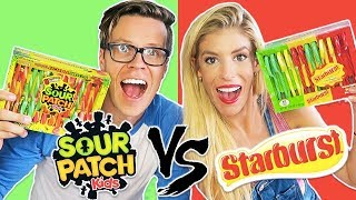 ULTIMATE CANDY CANE CHALLENGE, SOUR PATCH KIDS VS. STARBURST CANDY! (Day 340)