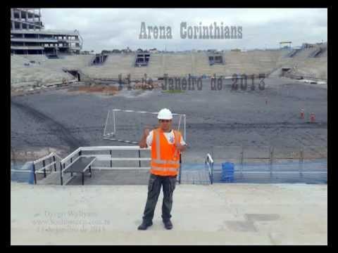 Arena Corinthians em 11/01/2013 - Nona treliça foi içada
