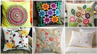 Fabulous Hand Embroidered Cushion Designs //Classy Embroidery Patterns For Cushion Cover