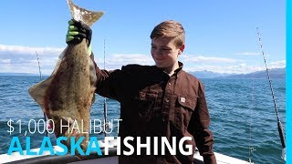 14 YEAR OLD CATCHES $1,000 HALIBUT IN HOMER ALASKA
