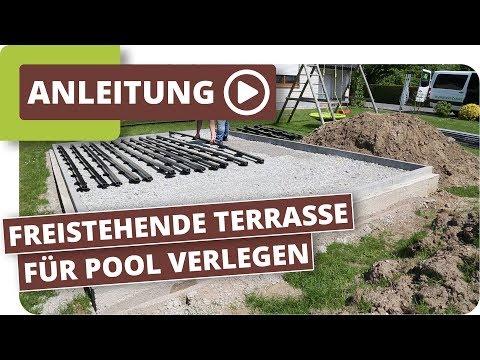 Freistehende Terrasse mit WPC Terrassendielen für Pool verlegen