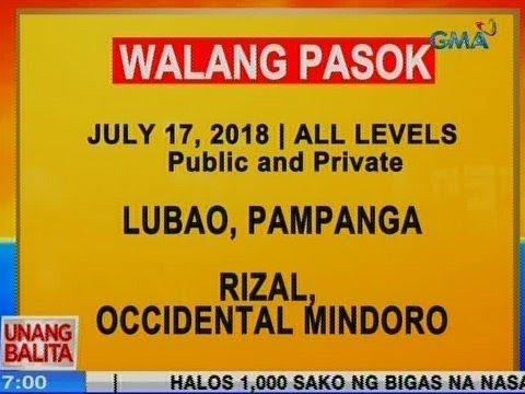 [GMA]  UB: Iba pang lugar, wala na ring pasok ngayong Martes (July 17, 2018)
