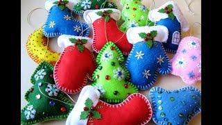 Новогодние игрушки из фетра.Новогодние украшения своими руками.Christmas toys..