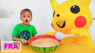 Histoire de routine matinale pour enfants Vlad et Nikita avec Huge Toy