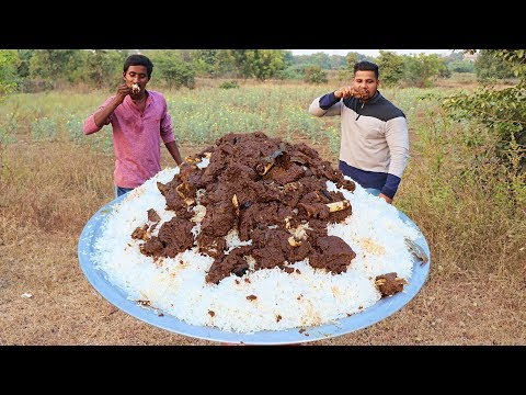 MUTTON RICE COOKING AND EATING IN THE WILD | TASTIEST GOAT MEAT RECIPE | RICE RECIPE |