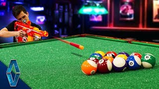 Playing Pool with NERF Blasters!