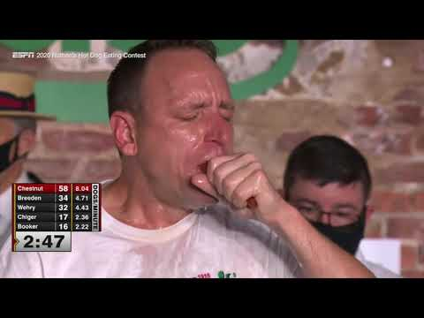 Joey Chestnut setting the hot dog eating world record to Hurt by Johnny Cash