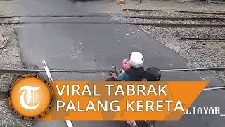 Video Viral 'The Power of Emak-emak' Tabrak Palang Perlintasan Kereta Api hingga Hancur