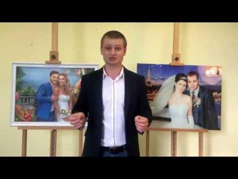 Подарок на годовщину свадьбы - картина из свадебных фотографий от студии Denir