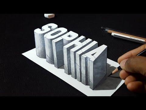 "How to Draw 3D ""Sophia"" Name - Popular Names Trick Art"