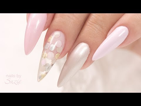 3D Sandwich Technique - Wedding Confetti Gel Nail