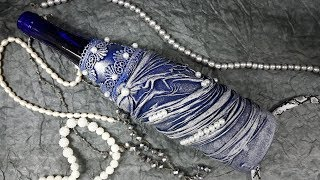Декор бутылки колготками Мастер класс!