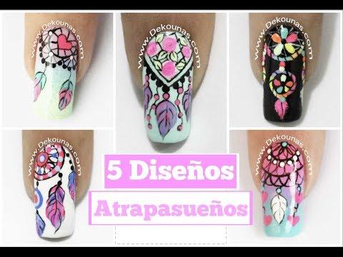 5 Diseños de uñas FACIL de Atrapasueños - 5 easy dreamcatcher nail art tutorial