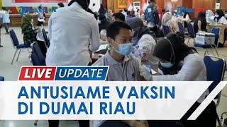 Antusiasme Warga Dumai Ikut Vaksinasi Tahap II, Pemerintah Targetkan 50.000 Dosis Vaksin Disuntikkan