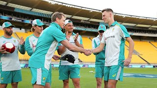 Riley Meredith receives his first cap from Bailey | Australia's tour of New Zealand 2021
