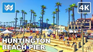 Walking tour of Huntington Beach Pier, California【4K】4th of July Eve