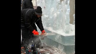 Carving Ice Sculpture Outside New England Aquarium
