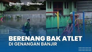 Viral Video Aksi Seorang Pria Nekat Berenang di Genangan Banjir, Cium Bau Tanah dan Ingin Muntah