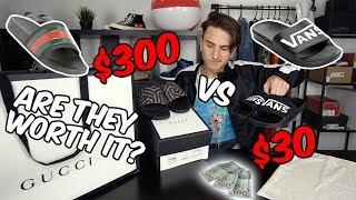 $300 GUCCI FLIP FLOPS vs $30 VANS SLIDES!