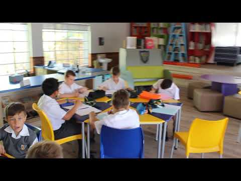 Grade four learners from St Benedict's enjoy a revamped media centre