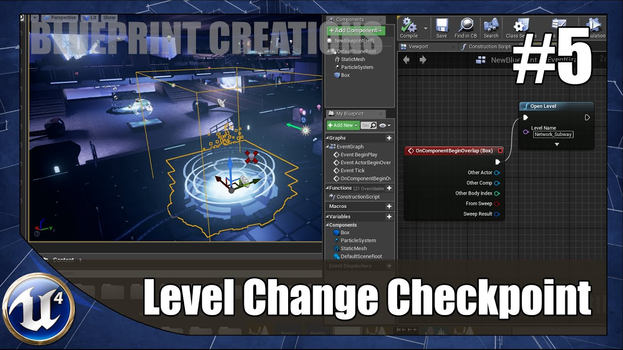 Level Changing Checkpoint - #5 Unreal Engine 4 Blueprint Creations Tutorial