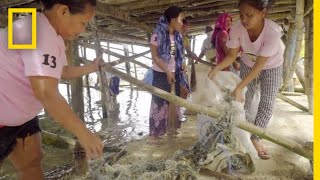 This Community in the Philippines Converts Plastic Fishing Nets to Carpet   National Geographic thumbnail